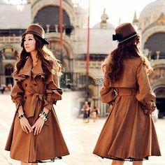 Damen Jacken Zweireihig Flouncing Windbreaker Trenchcoat Vintage Mantel Jacke