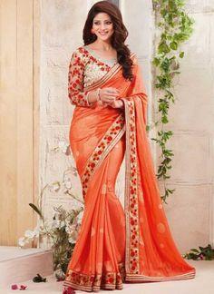 Orange Embroidery Work Fancy Silk Designer Printed Sarees  http://www.angelnx.com/Sarees
