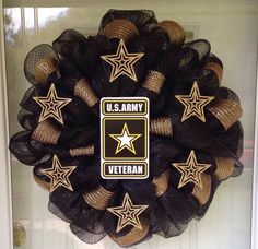 USA Army Deco Mesh Ribbon Handmade Military Door Wall Wreath Veterans Day #DecoMesh