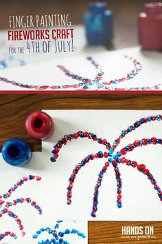 Finger paint your own fireworks with a creative Fourth of July craft for kids! Make your own fireworks with a creative finger painting activity for the of July! Fireworks Craft For Kids, Fourth Of July Crafts For Kids, Fireworks Art, 4th Of July, Painting Activities, Craft Activities, Toddler Activities, Preschool Ideas, Summer Activities