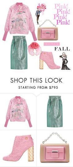 """Pink Fall"" by nicolevalents ❤ liked on Polyvore featuring Ms Min, Vika Gazinskaya, Chanel, Balenciaga and Alessandra Rich"