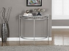 """Silver Metal 36""""L Hall Console Accent Table"""
