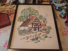 """Vintage 1930's Framed Embroidered Thatched Cottage Garden Picture 11""""x8.5"""""""
