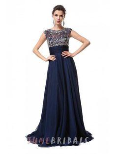 A-Line Princess Sleeveless Scoop Floor-Length Chiffon Beading Dresses