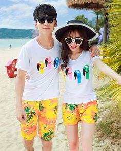Sandy beach short sleeve T-shirt summer couple clothes a set Couple Clothes, Couple Outfits, Cheap Clothes, Summer Couples, Sleeve, Beach, T Shirt, Fashion, Manga