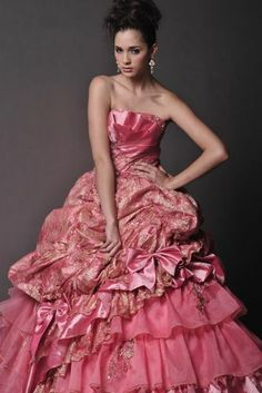 Fancy Color Ball Gown Layered Bottom Wedding Dress