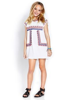 Embroidered Peasant Dress (Kids) | FOREVER21 girls - 2000063612