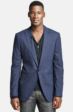 $1,495, Blue Plaid Blazer: John Varvatos Collection Austin Wool Silk Plaid One Button Sportcoat. Sold by Nordstrom. Click for more info: https://lookastic.com/men/shop_items/18210/redirect