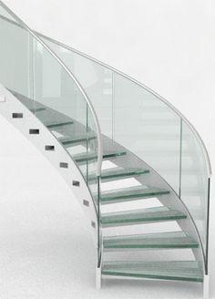 Circular staircase / glass steps / metal frame / open - RHS ...