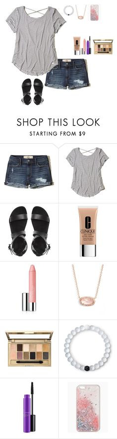 """Cute everyday outfit"" by emipooh ❤ liked on Polyvore featuring Hollister Co., Clinique, Kendra Scott, Maybelline, Lokai and MAC Cosmetics"