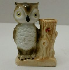 Vintage Bone China White Owl Tree Matchstick Toothpick Holder Cute!!