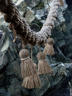 Thicker rope is commonly used, usually made of rice straw, but increasingly make of plastic. The long shimenawa used to connect sacred rocks would be of this type.