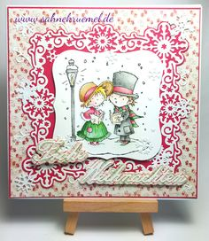 """Don & Daisy"" Marianne Design; Frame die ""Winterfun Frame"" Precious Marieke; Snowflake die Craftables ""CR133"" Marianne Design; Sentence die Nellie Snellen; Paper Pad ""I Wish"" Maja Design; white glitter cardstock Rayher; colored with TwinklingsH2O // Christmas card"