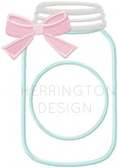 Mason Jar Applique Embroidery Design with Bow by HerringtonDesign