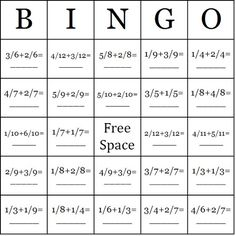 http://thebingomaker.com/index.php/bingo-cards/math-bingo-cards/adding-fractions-bingo-cards.html  Playing bingo with fractions would be a great game to play along with a unit on fractions or even to use in a math center.