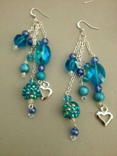Blue-green chunky Swarovski dangle earrings
