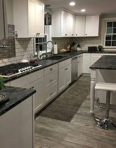 Dark Granite Kitchen Countertops Inspirational Black Granite Kitchen Gray Wood F… - Modern Black Granite Kitchen, Black Kitchen Cabinets, Refacing Kitchen Cabinets, Kitchen Countertops, White Cabinets, Dark Granite, Black Countertops, Kitchen Black, Kitchen Flooring