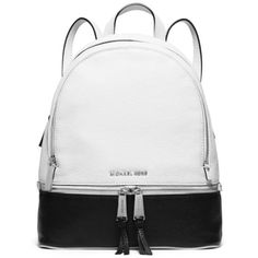 Michael Michael Kors Whiteblack Rhea Zip Medium Colorblock Backpack ($298) ❤ liked on Polyvore featuring bags, backpacks, strap bag, michael michael kors, backpacks bags, zipper backpack and white backpack