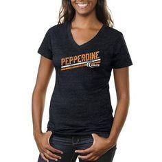 Pepperdine Waves Ladies Rising Bar Primary Tri-Blend V-Neck T-Shirt - Navy Blue