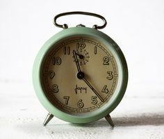 vintage French green metal JAPY alarm clock