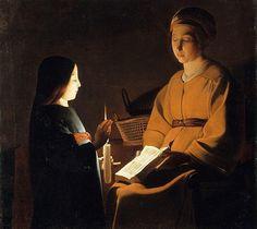 """Georges de la Tour (1593-1652, Francia): """"La educación de la virgen"""" (1650), The Frick Collection, NY"""