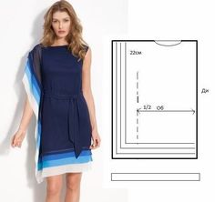 Moda e Dicas de Costura: Dress/Tunic Easy to Do. Diy Clothing, Sewing Clothes, Clothing Patterns, Dress Patterns, Sewing Patterns, Robe Diy, Diy Kleidung, Diy Vetement, Creation Couture