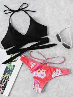 2c944b20a5 Shop Cross Wrap Strappy Mix And Match Bikini Set online. SheIn offers Cross  Wrap Strappy Mix And Match Bikini Set & more to fit your fashionable needs.