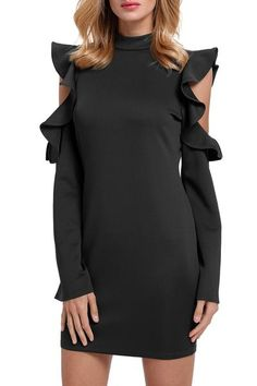 Detail This Cold Shoulder Ruffle Long Sleeve Bodycon Dress is the ultimate contemporary frock your closet is missing! This body contouring design in comfy stret Boho Fashion, Fashion Outfits, Fashion Black, Sheath Dress, Bodycon Dress, Clubbing Outfits, Mini Club Dresses, Patterned Tights, Sexy Women