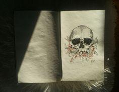 sketch skull flowers