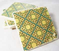 Blue Green and Black Mid Century Drink Coaster by nosweatcoasters