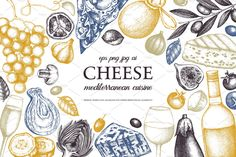 Ad: Hand Drawn Cheese Illustrations by Yevheniia on Hi! I am happy to present you my new collection of Food Illustration - Cheese! This collection contains 30 individual food elements, 8 Menu Design, Küchen Design, Label Design, Packaging Design, Graphic Design, Design Elements, Interior Design, Menu Illustration, Food Illustrations