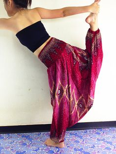 Women Harem Pants Yoga PantsDrop Crotch Aladdin Pants Maxi Pants Baggy Pants Gypsy Pants Genie Pant Jumpsuit Trouser Red/Pink (HP28)