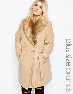 Image 1 - New Look Inspire - Manteau avec col en fausse fourrure