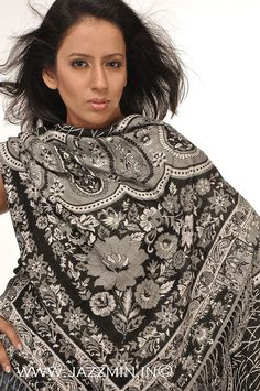 Buy Handmade Black Pashmina Scarf and Shawls Online at Jazzmin