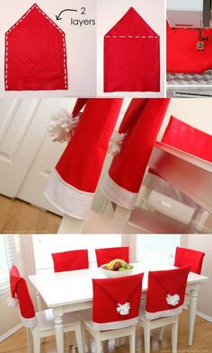 How to decorate a small living room for Christmas - Santa Hat Chair Covers Homemade Christmas Decorations, Christmas Crafts, Christmas Christmas, Xmas, Holiday, Mason Jar Diy, Mason Jar Crafts, Christmas Chair Covers, Christmas Living Rooms