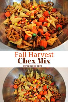 A Fall Harvest Chex Mix! This easy Halloween snack mix recipe makes a great Autumn inspired treat and a fun, kid friendly recipe. Halloween Snack Mix Recipe, Easy Halloween Snacks, Halloween Food For Party, Fall Halloween, Trail Mix Recipes, Snack Mix Recipes, Yummy Snacks, Fall Snack Mixes, Fall Snacks