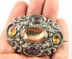 Superb Victorian silver Scottish agate real Cairngorm citrine brooch pin