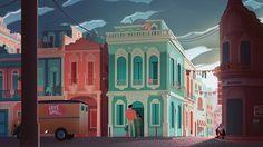 house, city, town, cuba, Caribbean, decor, bg, backdrop, environment