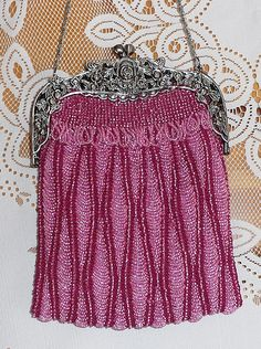 Beaded knitted purse.