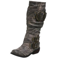 Two Lips Women's Warrior Mid Calf Leather Buckle Boot,Black,5.5 M US
