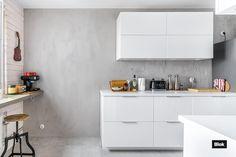 Micro Concrete, Concrete Wall, Minimalist Kitchen, Kitchen Cabinets, Table, Furniture, Home Decor, Minimalistic Kitchen, Minimal Kitchen