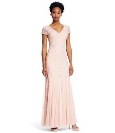 77a3f411e93 Adrianna Papell Beaded Lace V-Neck Godet Gown Adrianna Papell