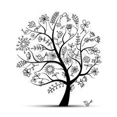 Arbre de floral art noir pour votre conception Banque d'images