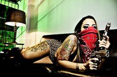 gangsta girl bandana thug life og swag gun guns   City StyleZ C$Z