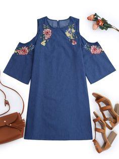 Embroidered Cold Shoulder Mini Dress - DENIM BLUE S