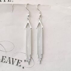 Silver Art Deco Earrings Dangly Earrings Drop by TemporalFlux