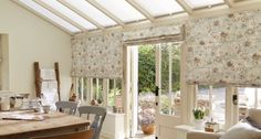 Give your conservatory a pretty pastel flavour | Hillarys Conservatory Curtains, English Cottage Style, Roman Blinds, Pretty Pastel, Window Curtains, Cosy, Roman Curtains