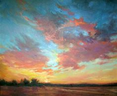 """Daily Paintworks - """"BC Sunset"""" - Original Fine Art for Sale - © Mary Maxam"""