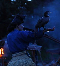 """thekimonogallery: """" Ukai is a traditional method of catching small Japanese trout by manipulating seabirds called u (cormorants) in the Nagaragawa River, famous for its limpid stream, in Gifu Prefecture, Japan. Master trainers of cormorants dressed..."""