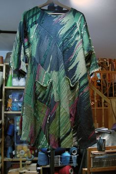 saori fashion cut in stripes sewn together with pockets